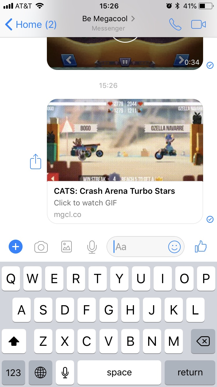 Demonstration of sharing to Facebook Messenger