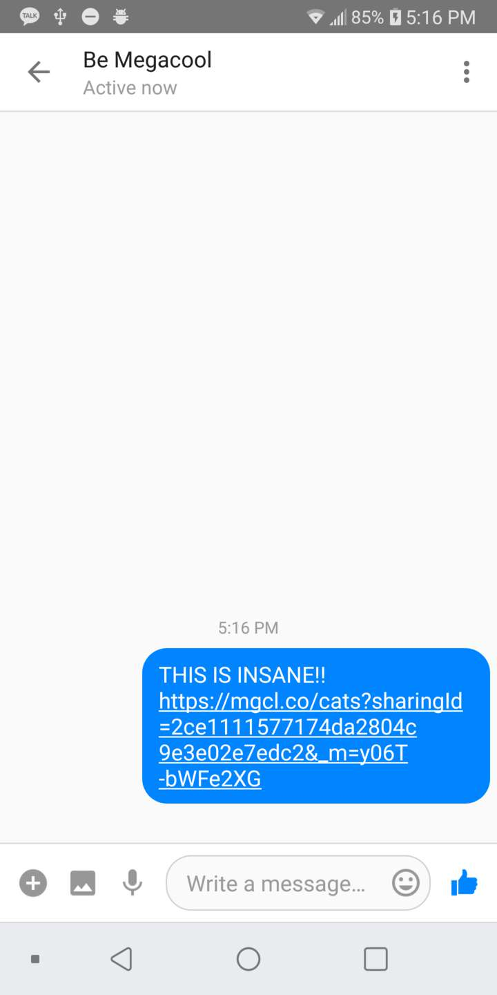 Demonstration of sharing to Facebook Messenger Lite